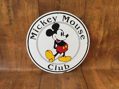 "Vintage ""mickey Mouse Club"" 12"" Porcelain Metal Resort & Theme Park Gas Sign"