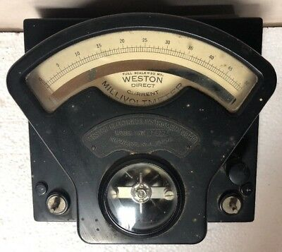 Antique Weston Direct Current DC Millivoltmeter Model 1 ** WORKING **