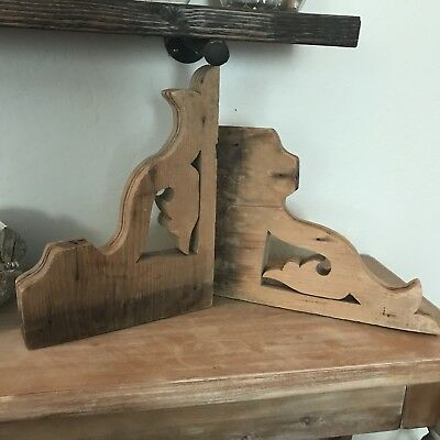 Pair of Vintage Antique Corbels  11 x 14.5  AS IS  Victorian/Farmhouse Unpainted