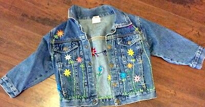 GIrls Denim Jean Jacket Coat Toddler 3T Hand Embroidered FLOWERS and BUTTERFLY