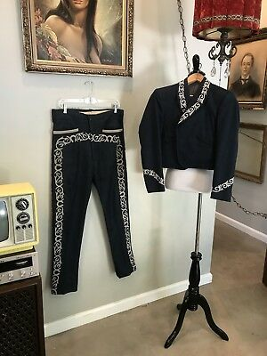 VTG 60s 70s Mens 2 PC Embroidered Mariachi Outfit Costume Pants Blazer Tuxedo