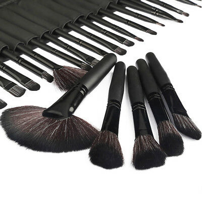 Professional 32 Pcs Black Kabuki Make Up Brush Set and Cosmetic Brushes Case US