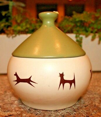 """Vintage Mccoy Pottery 5"""" White And Green Upjohn Company Unipet Treat Jar W/bell"""