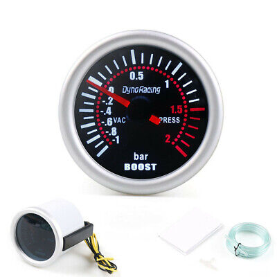 "2"" 52mm Bar Pointer White LED Turbo Boost Gauge Vacuum Press Meter Somke Tinted"