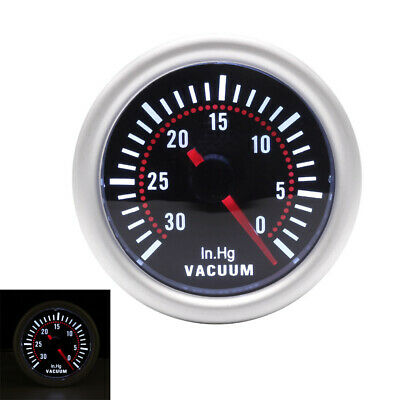2'' 52mm White LED Turbo Boost Vacuum Press Gauge Meter 0~30in.Hg Smoke Face