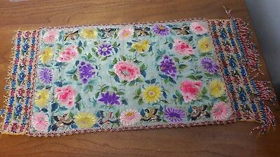 Antique Peranakan nonya straits chinese embroidered panel with beadwork