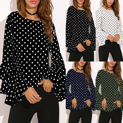 50c17260eec05f Fashion Cool Women s Bell Sleeve Loose Polka Dot Shirt Ladies Casual Blouse  Tops