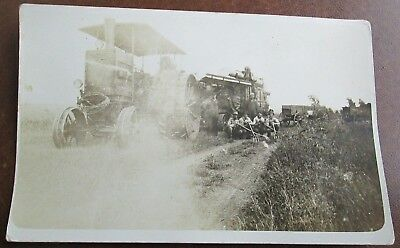 Vintage RPPC Postcard of a Threshing Crew -- Early Tractor, Thresher, Wagons