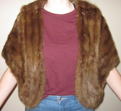 Mink Vintage Real Fur Open Front Cape, Stole, Shawl MEDIUM Brown
