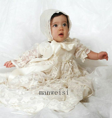 Antique Baptism Ivory Christening Gown Lace Baby Dresses Bonnet Infant Size 3-6M