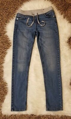 Justice Girl Super Skinny Pull On Knit Waist Casual Denim Jeans sz 12