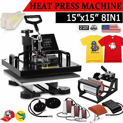 "8IN1 Combo T-Shirt Heat Press Transfer 15""x15"" Mug Plate Machine Multifunctional"