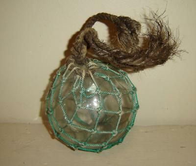 """Antique Vintage 4 1/2""""  Glass Fishing Buoy Blue Dyed Netting Old Rope Attached"""