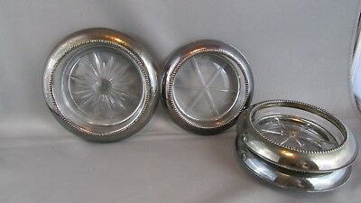 4 Sterling Silver Glass Center Coasters Frank M Whiting & Co. 1 bottle & 3 glass