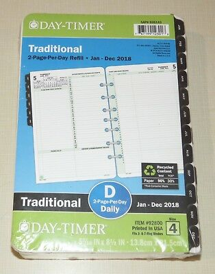 Day-Timer Traditional 2-Page-Per-Day Refill, Jan-Dec 2018, Size 4