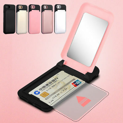 Luxury Card Slot Wallet Flip Hybrid Case Cover With Mirror For iPhone X 8 7 Plus