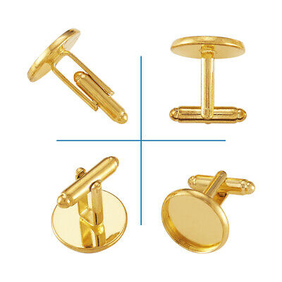 20pcs Gold Plated Brass Cufflinks Blanks Cuff Button Bezel Craft Round 16mm Tray