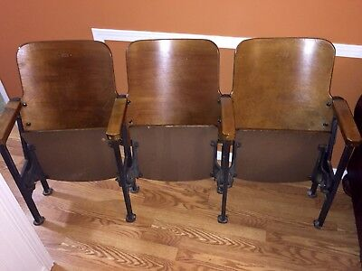 Vintage Art Deco Wood Theater Seats Wood Bench On Iron Frame 3 Connected Seats
