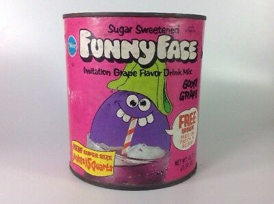Vintage Pillsbury Funny Face Drink Mix Can Container Goofy Grape FunnyFace