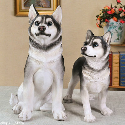 Siberian Husky DOG Hand Painted Resin Figurine Statue Fengshui