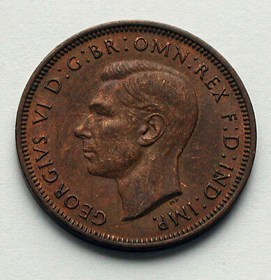 1944 UK (British) King George VI Coin - Half Penny (1/2d) -