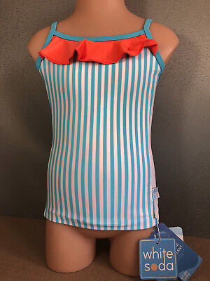 BNWT Girls Size 00 White Soda Brand Aqua & White Stripe Tankini Swim Top UPF 50+