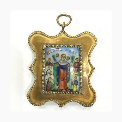 Antique Russian enamel icon Mother of God Joy of All Who Sorrow with Coins