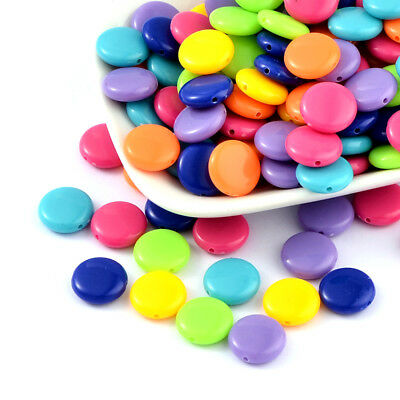 700pcs/500g Colorful Acrylic Beads Flat Round Solid Loose Candy Bead Smooth 14mm