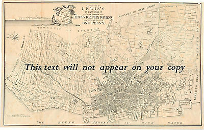 Liverpool Map  - rare reproduction of a 1785 map.
