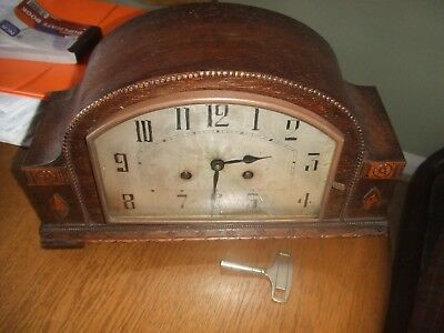 Vintage ' Art Deco 8 Day Mantel Clock with Chimes