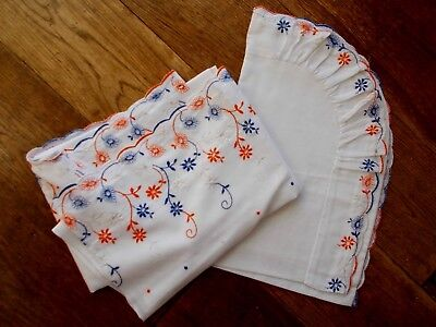 Unused Vintage White Baby Sheet & Pillowcase With Broderie Anglaise Lace Trim