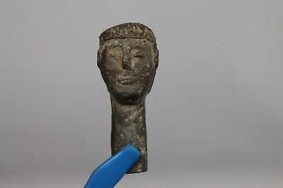 Ancient Bronze Roman Fragment with Male Head  100-400 AD