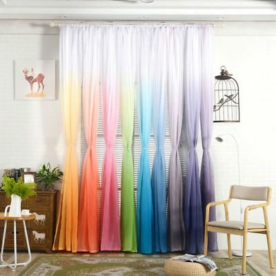Coloful Door Window Curtain Floral Tulle Drape Panel Sheer Voile Scarf Valances