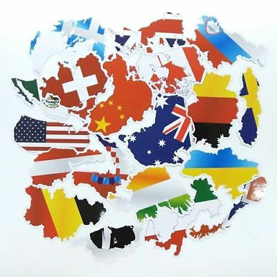 Lot of 37 Country Flag Travel Tourist Stickers - Luggage World Maps UN Olympics