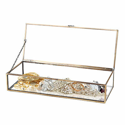 Vintage Style Brass Metal & Clear Glass Mirrored Shadow Box Jewelry Display Case