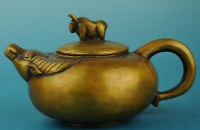 china copper Hand Made statue animal cow antique teapot /qianlong mark
