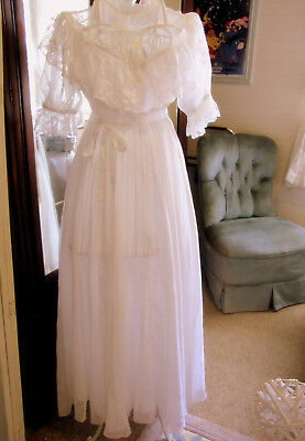 ANTIQUE VICTORIAN Early 1900's WEDDING Tea DRESS Small White vintage Lace