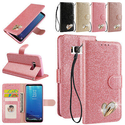 Bling Glitter Magnetic Leather Flip Wallet Case Stand Cover For Samsung S7 S8 S9