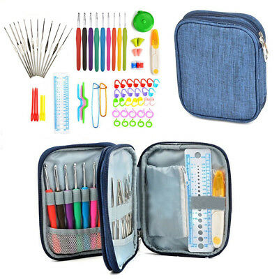 72pcs Crochet Hooks Kit Yarn Knitting Needles Sewing Tool Ergonomic Grip Bag Set