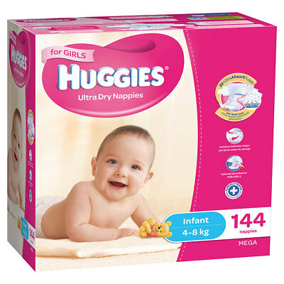 Huggies Infant Nappies for Girls 144 Mega Pack