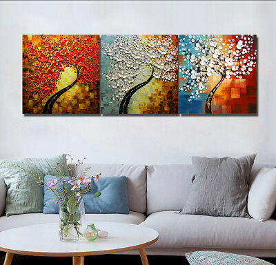 Three- Flower Trees 3 Panels Canvas Print Art Wall Decor Oil Painting Bedroom