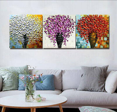 """Colorful Flowers 3 Panels Canvas Print Wall Art Oil Painting 16X16"""" Modern Home"""