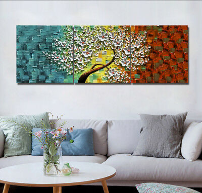 3 Panels Canvas Print Wall Art Oil Painting Flower Tree on Blurred Background