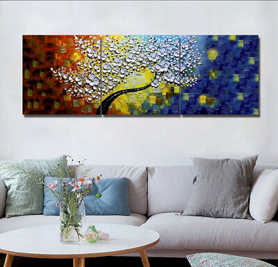Starry Night Flower Tree 3 Panels Canvas Print Wall Art Oil Painting Home Modern