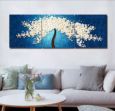 White Flower Tree on Blue Canvas Print Wall Art Oil Painting Home Modern 16X16""