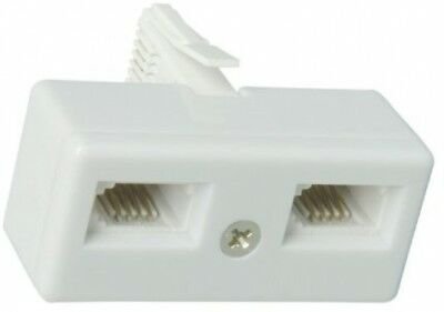 Double / 2 Way Telephone Socket Splitter Adaptor, Fits BT / Virgin Media Sockets