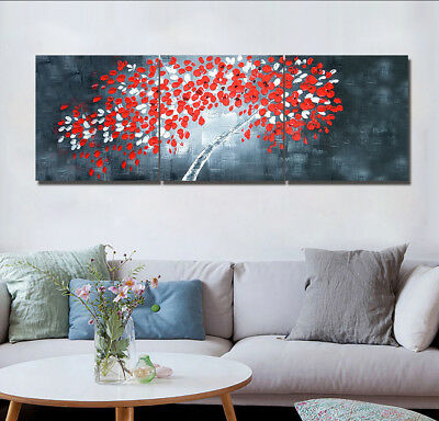 Modern Dark White and Red Flower Tree 3 Panels Canvas Print Wall Art Painting