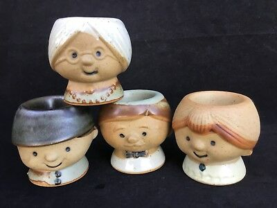 VINTAGE Super Cute GEMPO JAPAN EGG CUP SET Grandma Grandpa Boy & Girl