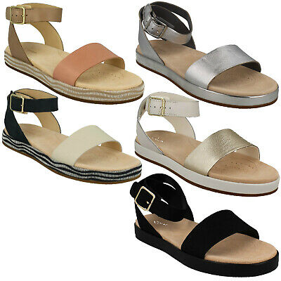 63518e7a6fad Ladies Clarks Leather Buckle Ankle Strap Casual Sandals Shoes Size Botanic  Ivy