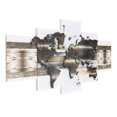 5 Panels Large World Map Wall Print Printing Pictures Canvas Art Home Wall Decor